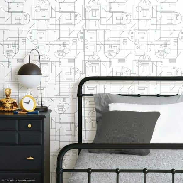 Roommates Star Wars R2d2 White And Grey Geometric Peel And Stick Wallpaper Covers 28 29 Sq Ft Rmk11786rl The Home Depot