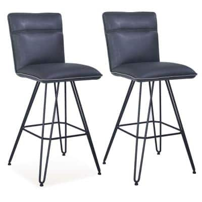 41 in. Height Blue and Black Metal Leather Upholstered Bar Height Stool with Hairpin Style Legs (Pack of Two)