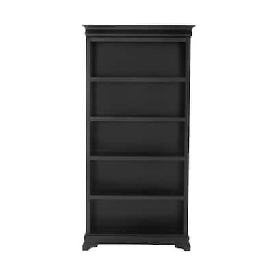 73 in. Black Wood 5-shelf Standard Bookcase with Adjustable Shelves