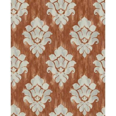 Corsica Damask Metallic Greige and Burnt Orange Paper Strippable Roll (Covers 56.05 sq. ft.)