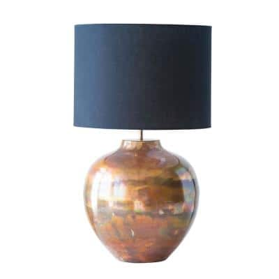 12 in. Copper Table Lamp with Black Shade