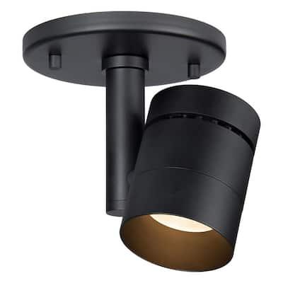 VidaLite Modern Black LED Surface Mount Monopoint Sconce Lighting, Adjustable Flush Mount Spot Light Head