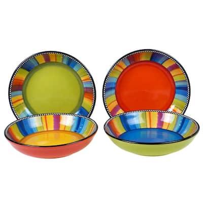Sierra 4-Piece Seasonal Multicolored Earthenware 30 oz. Soup/Pasta Bowl Set (Service for 4)
