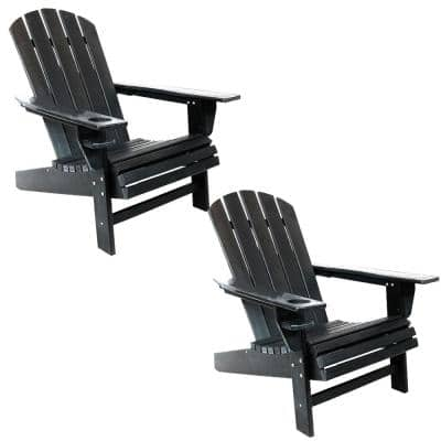 All-Weather HDPE Black Plastic Adirondack Chair with Drink Holder (Set of 2)