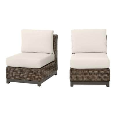 Fernlake Taupe Wicker Armless Middle Outdoor Patio Sectional Chair with CushionGuard Almond Tan Cushions (2-Pack)