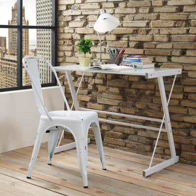 Stackable Metal Cafe Bistro Chair - Antique White