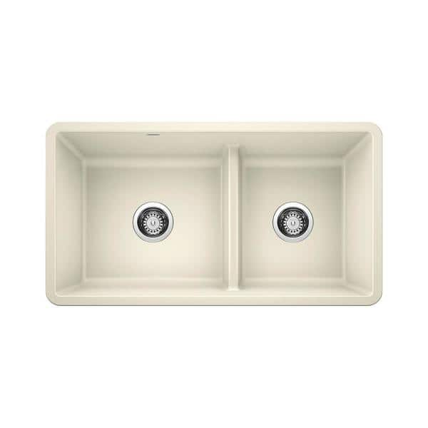 Blanco Precis Undermount Granite 33 In X 18 60 40 Double Bowl Kitchen Sink Biscuit 442526 The Home Depot