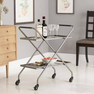 2-Tier Silver Industrial Iron Bar Cart Tempered Glass Shelves with Wheels