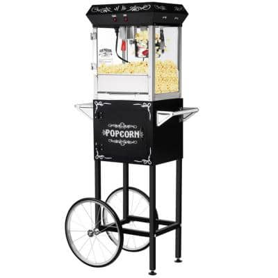 Foundation Popcorn Machine with Cart- Popper Makes 2 Gallons- 6-Ounce Kettle, Old Maids Drawer, Warming Tray & Scoop