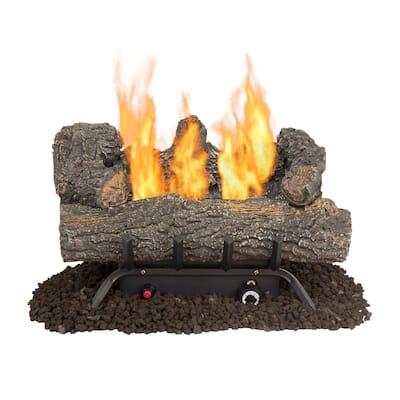 Southern Oak 19.75 in. Vent-Free Dual Fuel Gas Fireplace Logs