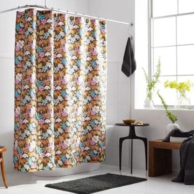 Company Organic Cotton Floral Feline Percale 72 in. Multicolored Shower Curtain