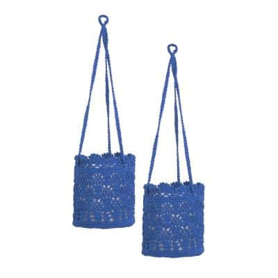 Mode Crochet Cobalt Blue Polypropylene Hanging Baskets (Set of 2)
