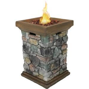 30 in. Square Fiberglass Rock Column Design Propane Gas Fire Pit