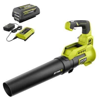 40V 110 MPH 525 CFM Cordless Battery Variable-Speed Jet Fan Leaf Blower with 4.0 Ah Battery and Charger