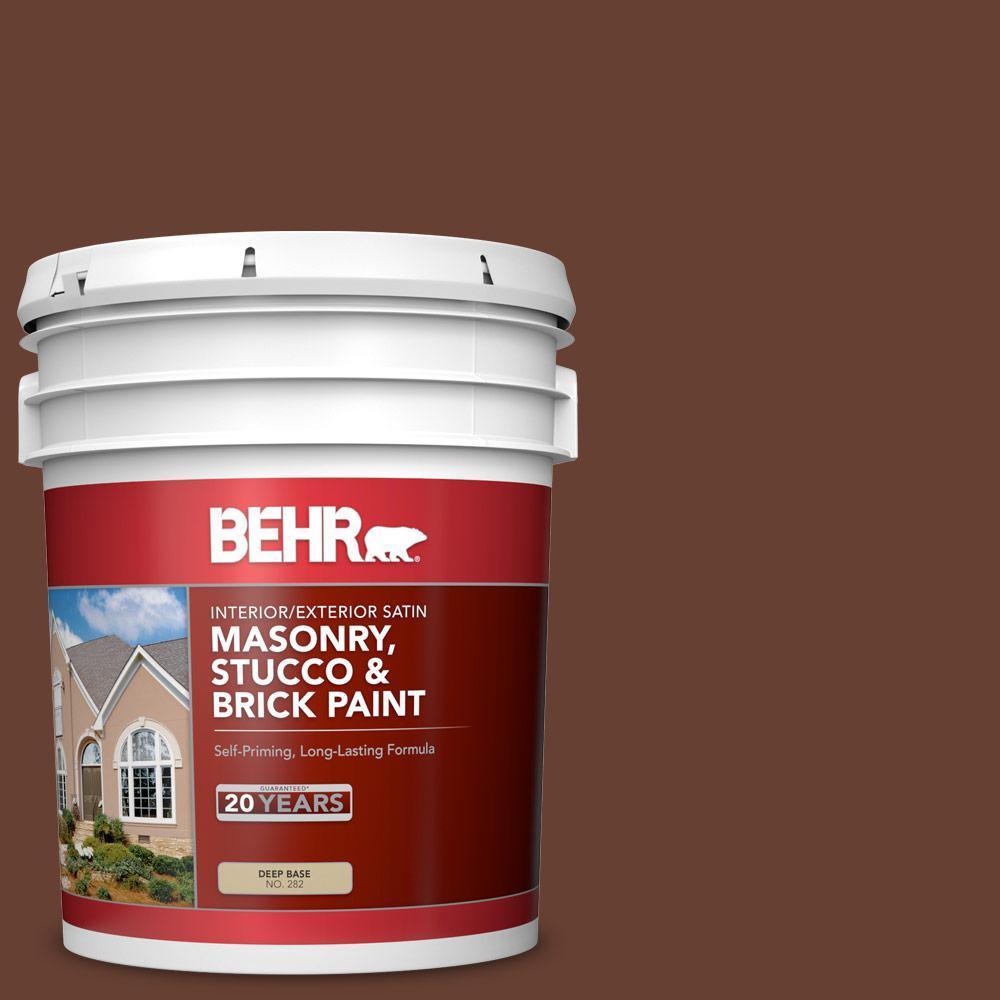 5 gal. #BXC-45 Classic Brown Satin Interior/Exterior Masonry, Stucco and Brick Paint