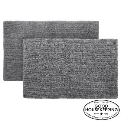 Charcoal 24 in. x 40 in. Cotton Reversible Bath Rug (Set of 2)