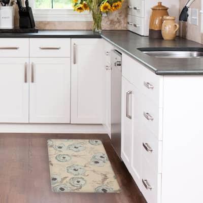 Poppy Meadow Primrose Duck Egg 20 in. x 32 in. PVC Anti-Fatigue Comfort Kitchen Mat