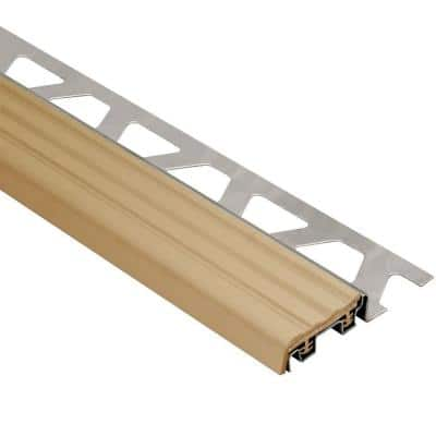 Trep-SE Stainless Steel with Light Beige Insert 5/16 in. x 4 ft. 11 in. Metal Stair Nose Tile Edging Trim