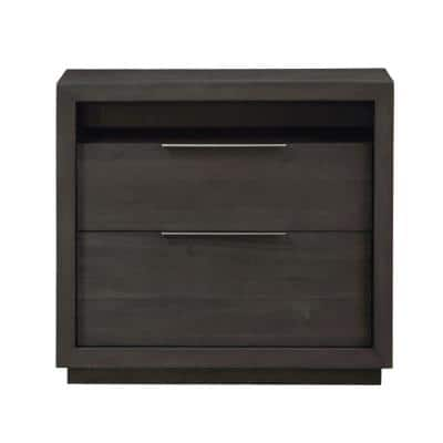 Oxford 2-Drawer Basalt Grey Nightstand (29 in. H x 32 in. W x 16 in. D)