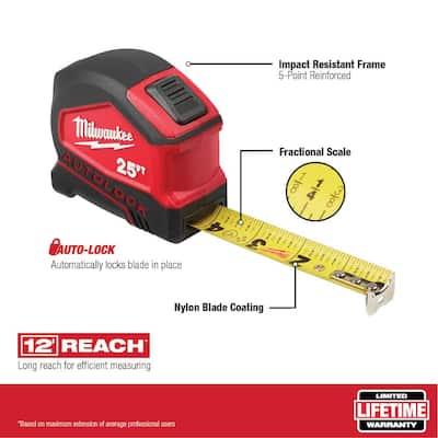 25 ft. Compact Auto Lock Tape Measure