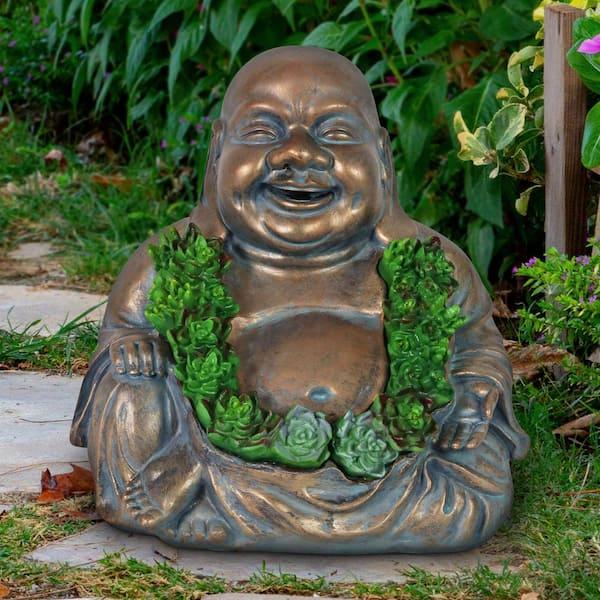 Exhart Solar Happy Buddha Garden Statue 18596 Rs The Home Depot