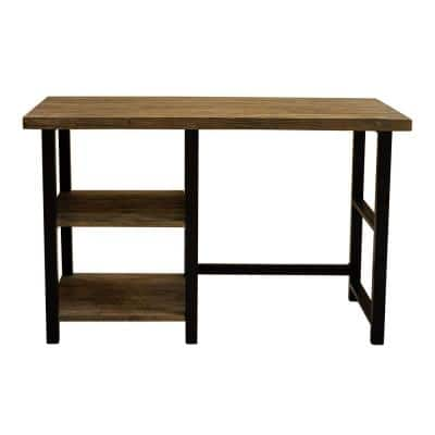 48 in. Rectangular Natural Writing Desk with Open Storage
