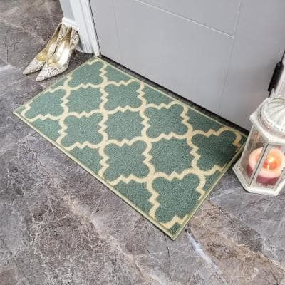 Hamam Collection Blue 1 ft. 6 in. x 2 ft. 7 in. Rubber Back Area Rug