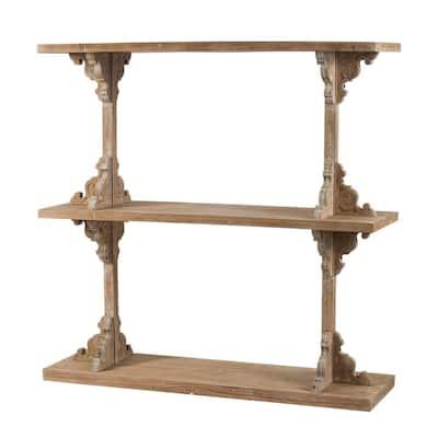 53.9 in. Whitewash Natural Engineered Wood 3-Shelf Modern Accent Bookcase