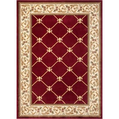 Timeless Fleur De Lis Red 9 ft. x 13 ft. Formal Area Rug