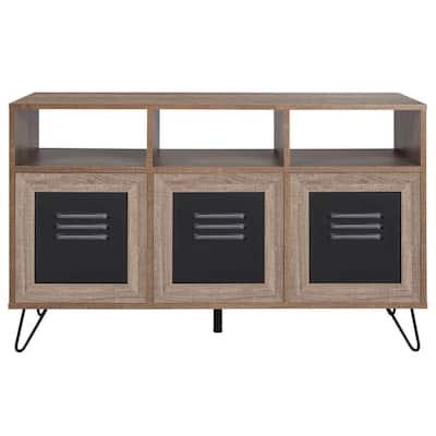 26.5 in. Brown Wood 3-shelf Standard Bookcase with Doors