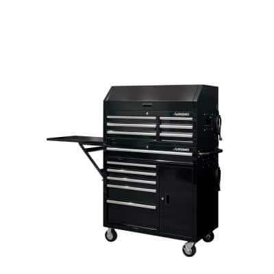 41 in. W 12-Drawer Deep Combination Tool Chest and Rolling Cabinet Set in Gloss Black with Side Table