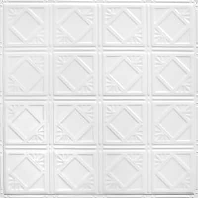 Pattern #19 24 in. x 24 in. Bright White Satin Tin Wall Tile Backsplash Kit (5 pack)