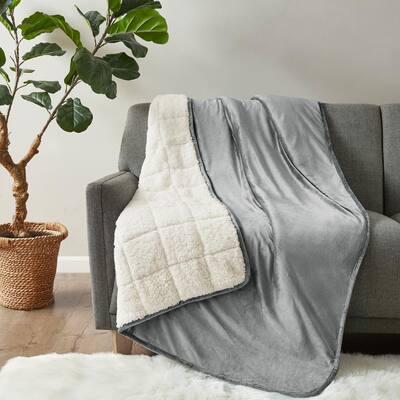 Velvet to Berber Grey 60 in. x 80 in. 15 lbs. Weighted Blanket