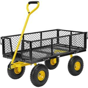 1100 lbs. Capacity Mesh Steel Garden Cart in Black with Removable Sides and Wheels