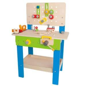 Wooden Child Master Tool and Workbench Toy Pretend Builder Set for Kids 3+