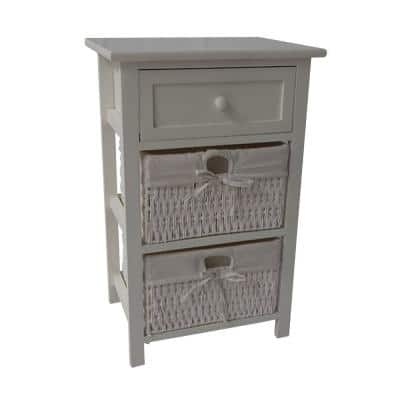 White 24.80 Inches H Single Drawer Wooden Accent Cabinet with 2 Cotton Paper Baskets