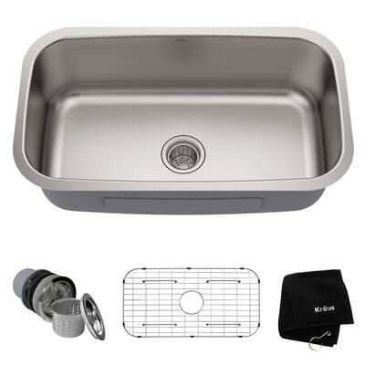 Premier Undermount Stainless Steel 31 in. Single Bowl Kitchen Sink