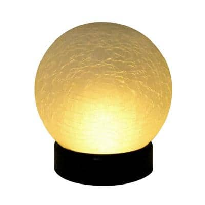 Battery Operated Flame Effect Crackle Glass Globe Light