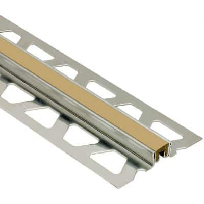 Dilex-KSN Stainless Steel with Light Beige Insert 1-3/16 in. x 8 ft. 2-1/2 in. Metal Movement Joint Tile Edging Trim