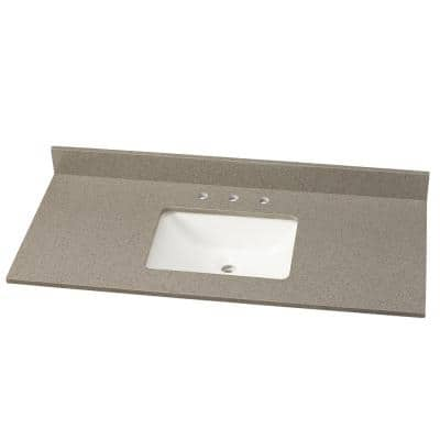 49 in. W Quartz Single Vanity Top in London Fog with White Sink