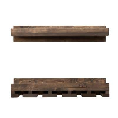 Rustic Luxe 6 in. x 24 in. x 10 in. 2-Tier Wood Shelf and Glass Rack Set