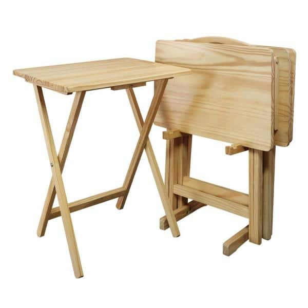 Casual Home 5 Piece Natural Foldable Tray Table 660 40 The Depot