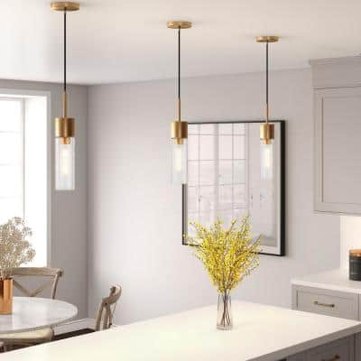 Lance 1-Light Brass Pendant with Seeded Glass Shade