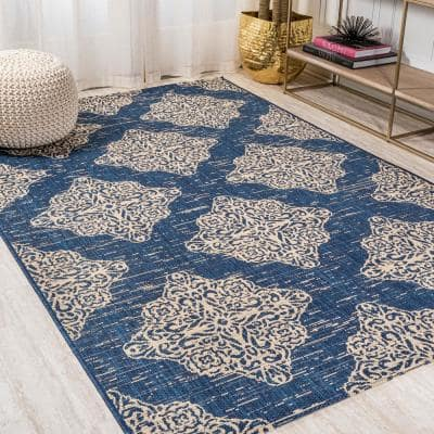 Tuscany Ornate Medallions Navy/Beige 8 ft. x 10 ft. Indoor/Outdoor Area Rug