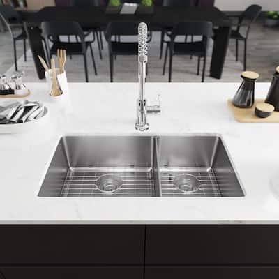 Undermount Stainless Steel 31-1/8 in. 60/40 Double Bowl Kitchen Sink Kit