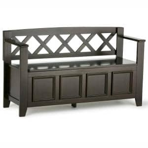 Washington 48 in. Hickory Brown Solid Wood Wide Transitional Entryway Storage Bench
