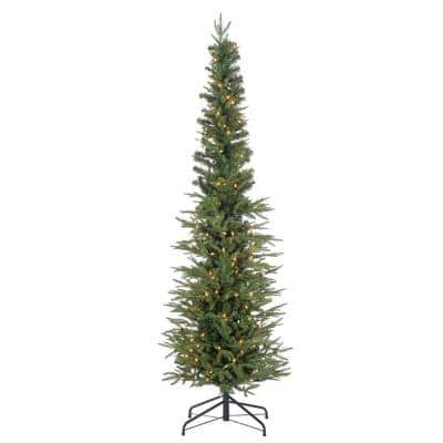 6.5 ft. Natural Cut Narrow Lincoln Pine Artificial Christmas Tree with 200 Clear Lights