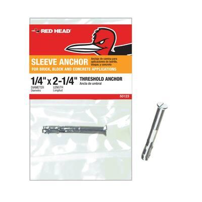 1/4 in. x 2-1/4 in. Zinc-Plated Steel Flat Head Threshold Sleeve Anchor