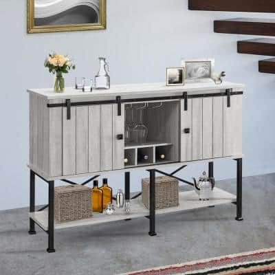 52 in. Saw Cut-Off White Wood Bar Cabinet with Sliding Door