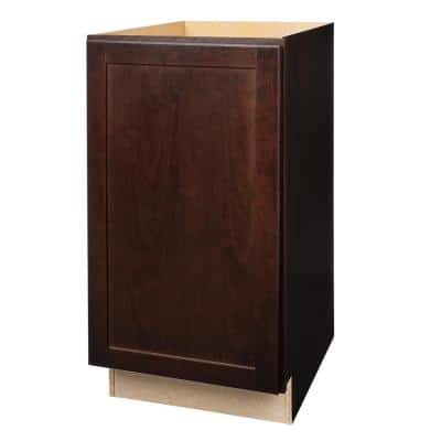 Shaker Assembled 18x34.5x24 in. Pull Out Trash Can Base Kitchen Cabinet in Java